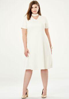 V-Inset Fit & Flare Dress,