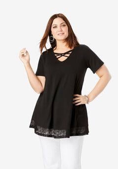 Cross-Neck Lace Tunic,