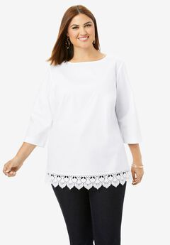 Lace Trim Blouse,