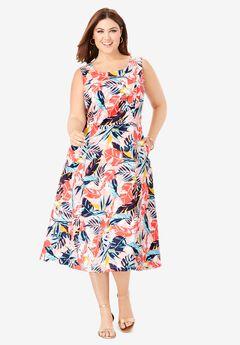 Linen Fit & Flare Dress,