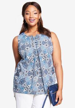 Lace-Up Linen Shirt, GRECIAN MOSAIC