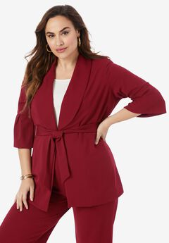 Belted Knit Crepe Jacket,