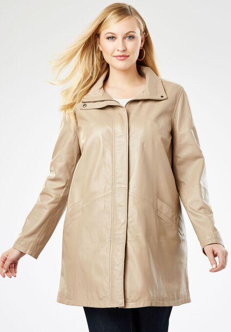 d065e984afc A-Line Zip Front Leather Jacket