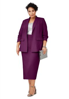 Single-Breasted Skirt Suit, DARK BERRY