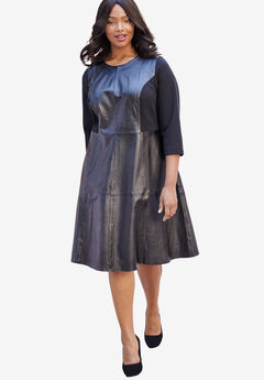 Leather Fit & Flare Dress with Three-Quarter Ponte Sleeves,