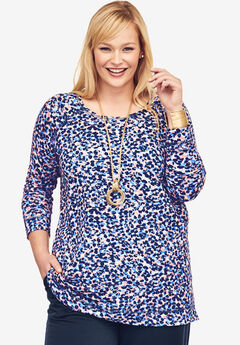 Pure Ease Printed Tunic, ROSE MIST NAVY ABSTRACT ANIMAL