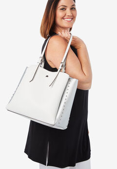 Studded Tote, WHITE SILVER