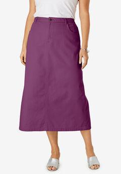 Classic Cotton Denim Long Skirt, DARK BERRY