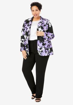 Single Breasted Pant Suit, BLACK GRAPHIC FLORAL