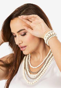 Multi-Layer Beaded Necklace & Bracelet Set,