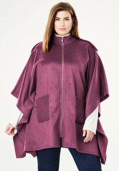 Wool Cape Coat, DEEP MERLOT