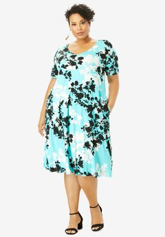 Crossback Swing Dress, AQUA GRAPHIC FLORAL
