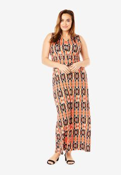 V-Neck Maxi Dress, ORANGE TRIBAL IKAT