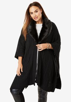 Fur-Trim Poncho Sweater,