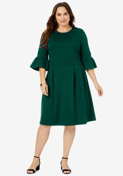 Ponte Fit & Flare Dress, DARK EMERALD