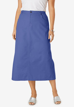 Classic Cotton Denim Long Skirt,
