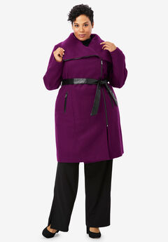 Faux Leather-Trim Coat, DARK BERRY