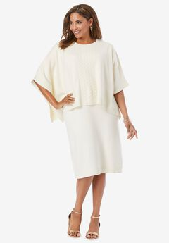 Cable-Knit Cape Sweater Dress,
