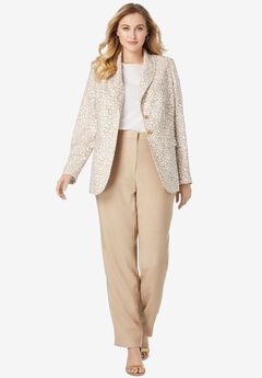 Single Breasted Pant Suit, CAMEL TAN ANIMAL