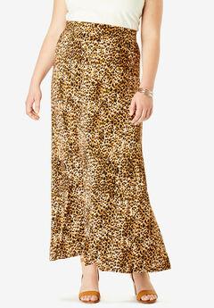 Everyday Knit Maxi Skirt, OATMEAL LEOPARD