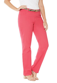 Classic Cotton Denim Straight Jeans, CORAL ROSE