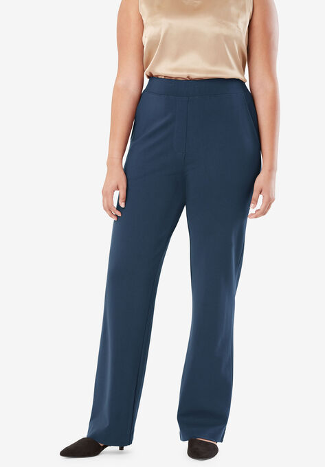 Wide Leg Trousers in Ponte Knit| Plus Size Pants | Woman Within