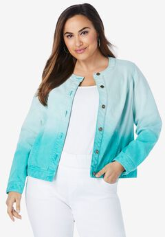 Collarless Denim Jacket,