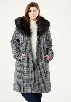 A-Line Wool-Blend Coat, BLACK IVORY TWEED