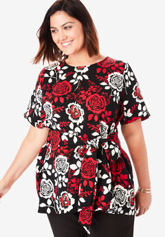 Tie-Front Tunic, IVORY ROSE