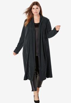 Velvet Duster Jacket, BLACK