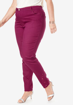 Embroidered Jeans, BERRY TWIST EMBROIDERY