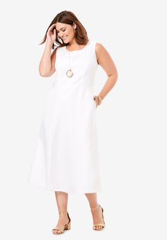 Linen Fit & Flare Dress, WHITE