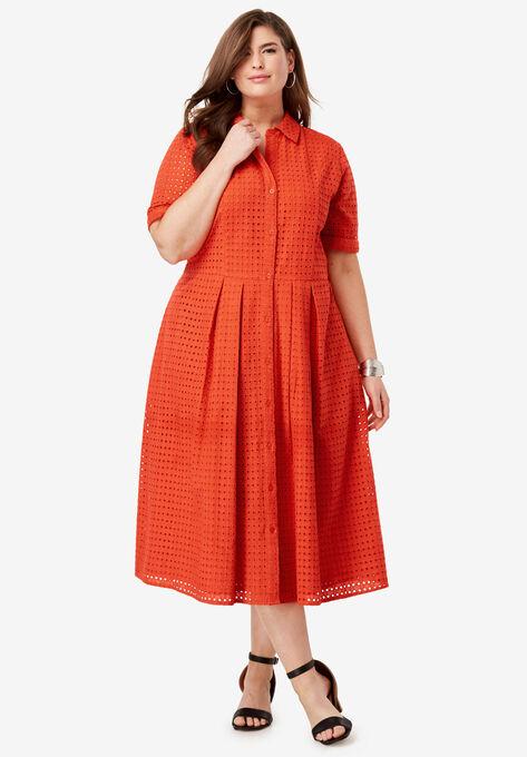 Eyelet Shirt Dress| Plus Size Work Dresses | Woman Within