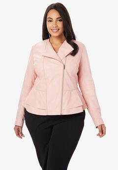 Collarless Leather Peplum Jacket,