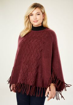 Cable Front Poncho Sweater,