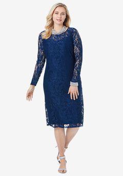 Lace Shift Dress, EVENING BLUE