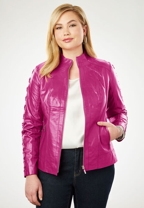 f1c6513107 Lace Up Leather Jacket| Plus Size Leather Jackets | Woman Within