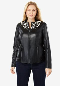 Embellished Leather Jacket,