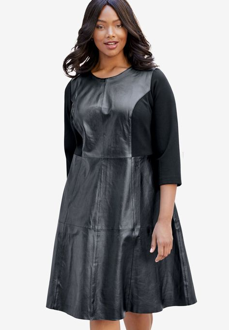 Leather Fit Flare Dress With Three Quarter Ponte Sleeves Plus
