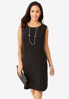 Bi-Stretch Sheath Dress, BLACK