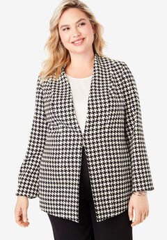 Collarless Bi-Stretch Blazer, IVORY HOUNDSTOOTH