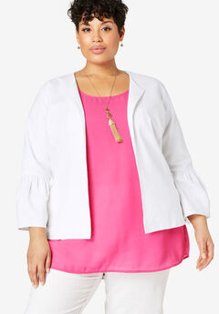 Bell Sleeve Linen Jacket,
