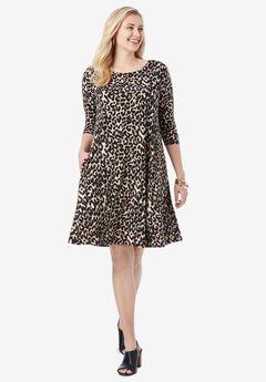 Three-Quarter Sleeve T-shirt Dress,
