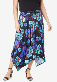 Asymmetrical Midi Skirt, BLACK WATERCOLOR ROSE
