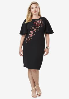 Embroidered Sheath Dress,