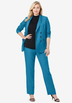 Double-Breasted Pantsuit, PEACOCK TEAL