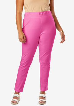 Tummy Control Twill Ankle Pant, BRIGHT BERRY