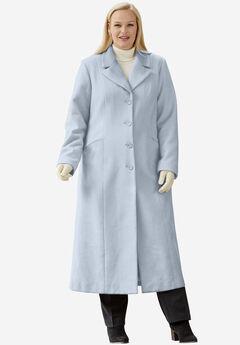 Full Length Wool Blend Coat, PEARL GREY