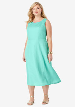 Linen Fit & Flare Dress, PRETTY SEAFOAM