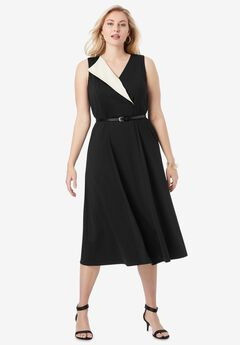 Belted Fit & Flare Dress,